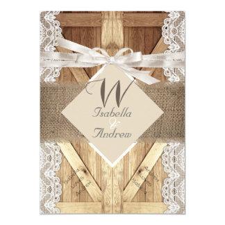 Rustic Door Wedding Beige White Lace Wood Burlap 2 13 Cm X 18 Cm Invitation Card