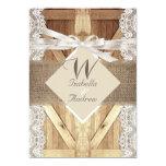 Rustic Door Wedding Beige White Lace Wood Burlap 13 Cm X 18 Cm Invitation Card