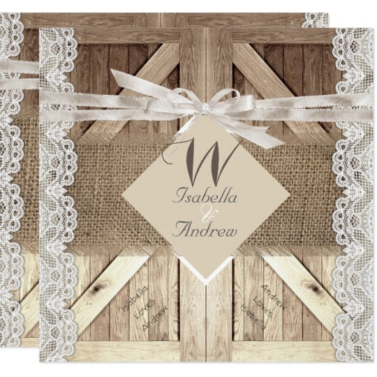Rustic Door Wedding Ideas: Rustic Door Wedding Lace Wood Burlap Writing 2 Invitation