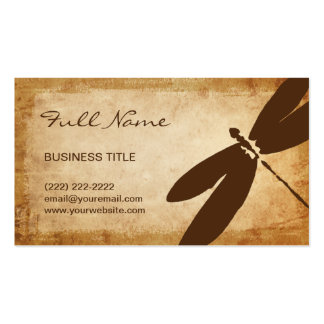 Rustic Dragonfly Business Cards   Brown Parchment