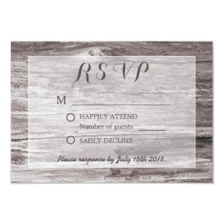 Rustic Driftwood Background Wedding RSVP Card