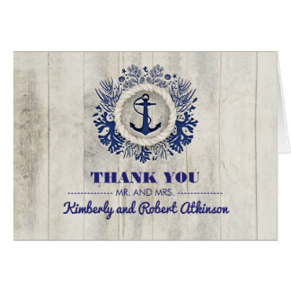 Rustic Driftwood Nautical Beach Wedding Thank You Card