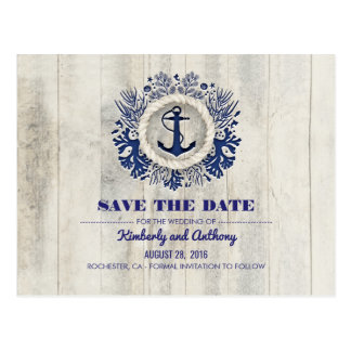 Rustic Driftwood Nautical Navy Beach Save the Date Postcard