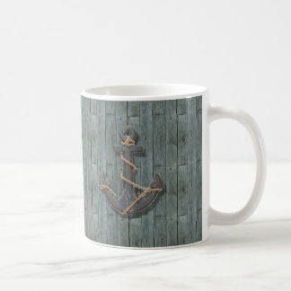 Rustic driftwood Teal Beach Wood nautical anchor Coffee Mug