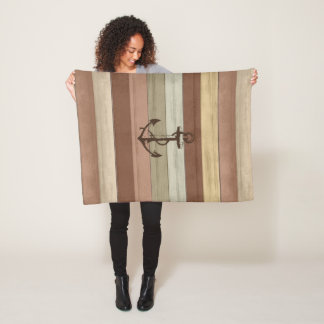 Rustic Earth Tones Wood Nautical Stripes & Anchor Fleece Blanket