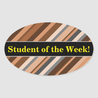Rustic, Earthy Brown, Beige and Grey Stripes Oval Sticker