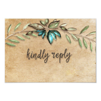 Rustic Earthy Wreath Kindly Reply Wedding RSVP Card