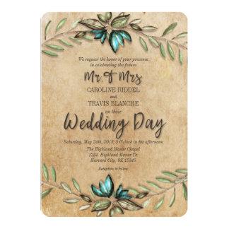 Rustic Earthy Wreath Mr. & Mrs. Wedding Invitation