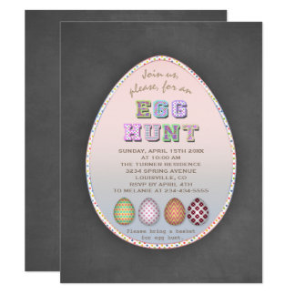 Rustic Easter Egg Hunt Party Chalk Invitation