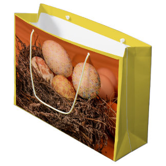 Rustic Easter eggs in nest Large Gift Bag