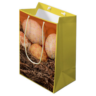 Rustic Easter eggs in nest Medium Gift Bag