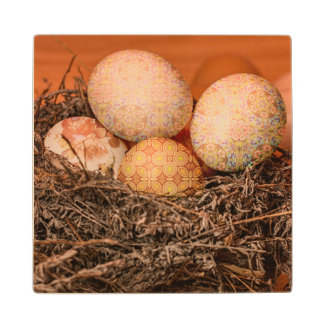 Rustic Easter eggs in nest Wood Coaster