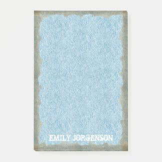 Rustic Edge Blue Denim Add Name 4x6 Post-it Notes
