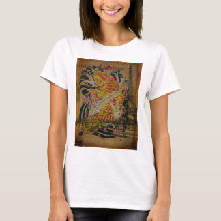 rustic eiffel tower japanese tattoo koi fish T-Shirt