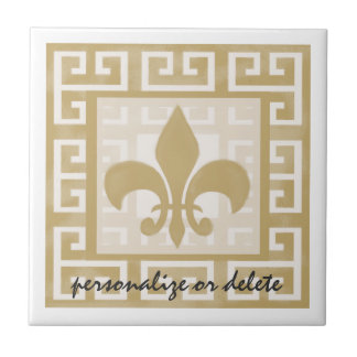 Rustic Elegance Fleur de Lis Greek Key Pattern Small Square Tile
