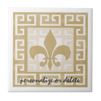 Rustic Elegance Fleur de Lis Greek Key Pattern Tile