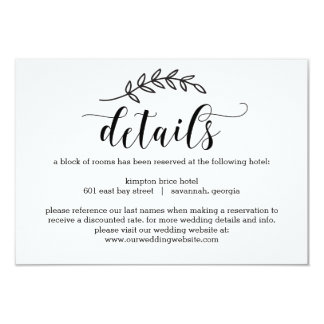 Rustic Elegance Wedding Details Enclosure Cards