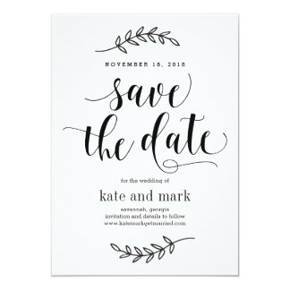 Rustic Elegance Wedding Save The Date Card White