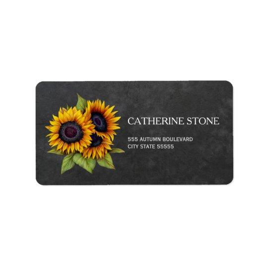 Rustic elegant chalkboard sunflowers address label