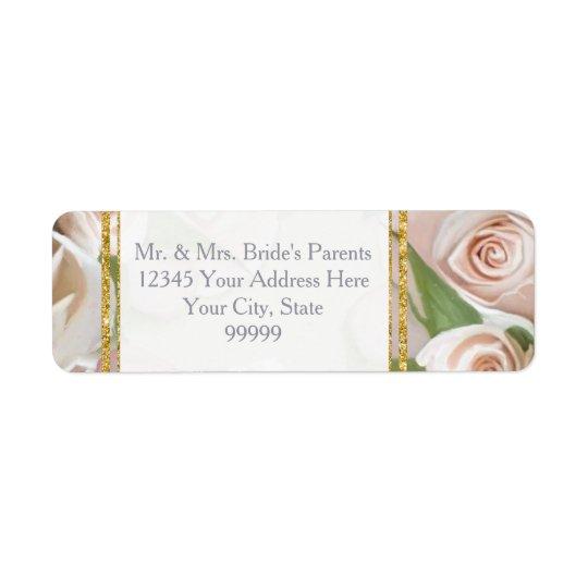 Rustic Elegant Floral Rose Wreath Art Gold Glitter Return Address Label