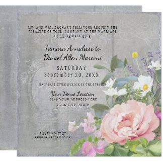 Rustic Elegant Floral Wood Pink Peony Boho Vintage Card