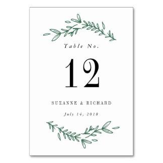 Rustic Elegant Floral Wreath Table Numbers