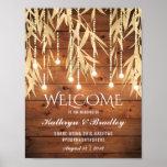 Rustic Elegant Gold Willow Tree Wedding Reception Poster