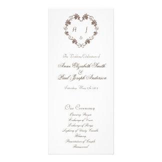 Rustic Elegant Heart monogram wedding program Rack Card Template