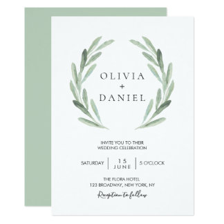 Rustic Elegant Olive Leaf Wreath Greenery Wedding Card