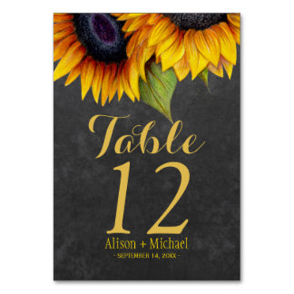 Rustic elegant sunflower fall wedding table number