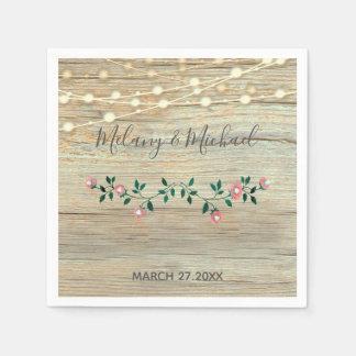 Rustic elegant  wooden string lights roses wedding disposable napkins
