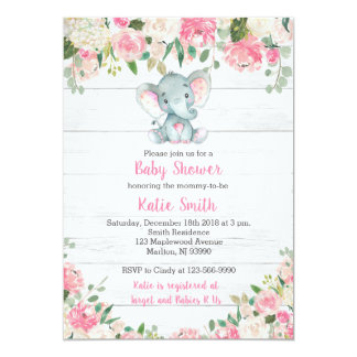 Rustic Elephant Baby Shower Invitations for a Girl