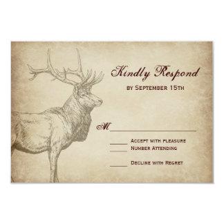 Rustic Elk Wildlife Antlers Wedding RSVP Cards 9 Cm X 13 Cm Invitation Card