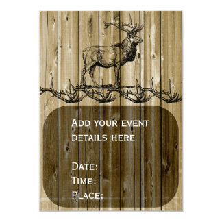 Rustic Elk Wildlife Hunting Invitations