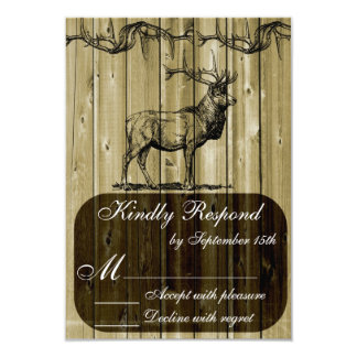 Rustic Elk Wildlife Hunting Wedding RSVP Card 9 Cm X 13 Cm Invitation Card