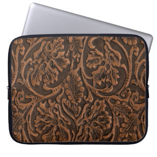 Rustic Embossed Leather Laptop Sleeve