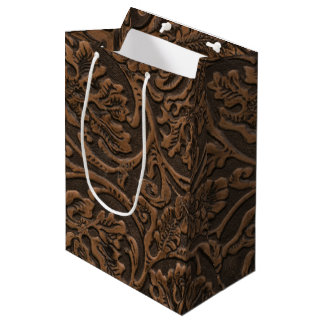 Rustic Embossed Leather Medium Gift Bag