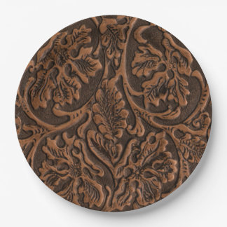 Rustic Embossed Leather Paper Plate