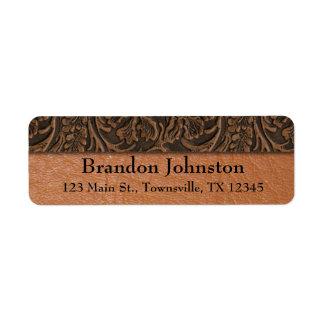Rustic Embossed Leather Return Address Label