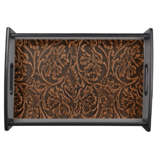 Rustic Embossed Leather Serving Tray