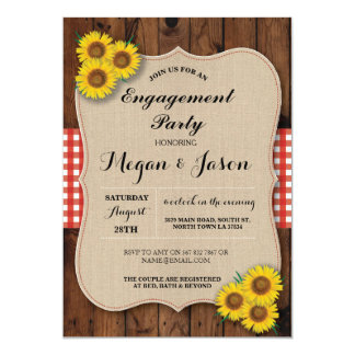 Rustic Engagement Party Shower Sunflower Invite
