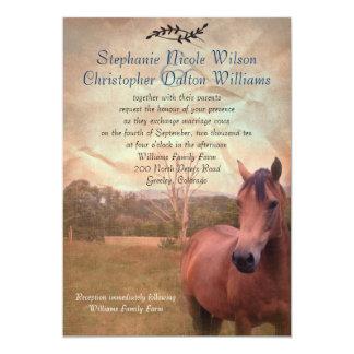 Rustic Equestrian Wedding Invitation - Blue Back