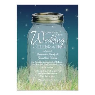 Rustic Evening Mason Jar Wedding Invitation