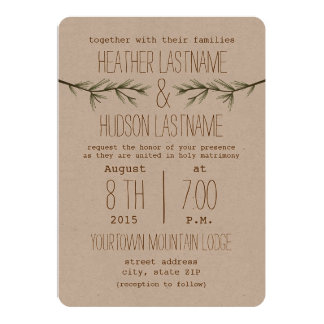 Rustic Evergreen Branches Wedding Invite