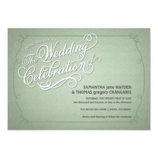 Rustic Fade Green Wedding Invitation