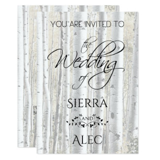 Rustic Faded White Birch Trees Card
