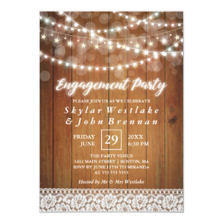 Rustic Fairy Lights Engagement Party Card