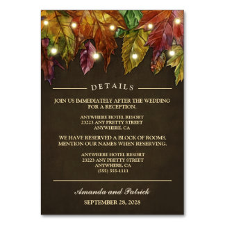 Rustic Fall Autumn Leaves Reception + Hotel Cards