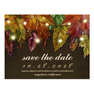 Rustic Fall Autumn Leaves Save The Date Cards