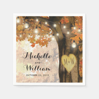 Rustic Fall Autumn Tree Twinkle Lights Wedding Disposable Napkin